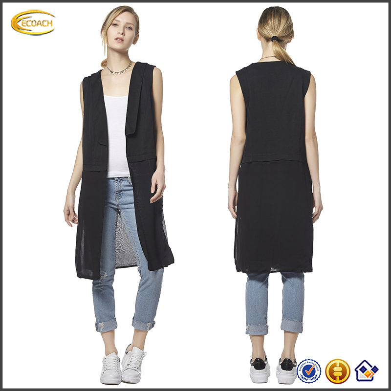 Ecoach Hot Fashion new styles summer 2016 black women sleeveless solid chiffon long coat wholesale ladies designer summer coat