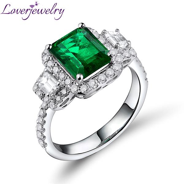 incre ble lujo esmeralda anillos en 18kt oro blanco