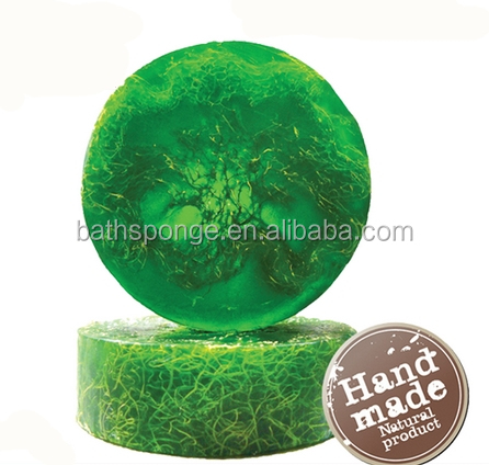 (SO-001-E)Handmade natural Loofah soap cold process with glycerinum - green tea