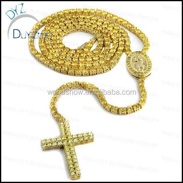 cheap gold hip hop cross pendant necklace rosary