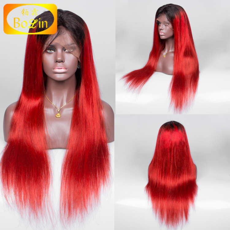 Peruvian Straight Lace Front Two Tone Ombre Red Hair Wig with Baby Hair