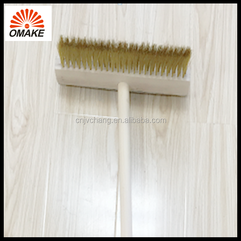 best clean tools customized wooden handle print logo copper brush with aluminum