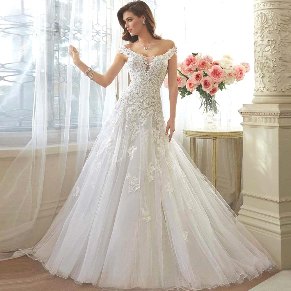 Elegant Lace Tulle Wedding Dresses Simple Design 3 4 Lace: Off The Shoulder Misty Tulle Full A Line Wedding Gown
