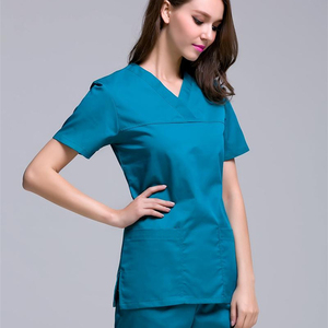 Medical scrubs clothing uniform dropshipping V neck polyester/cotton women nursing uniform nurse medical scrubs design