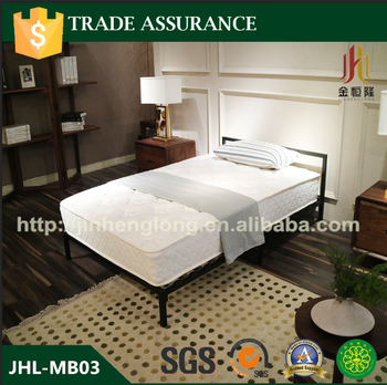 Latest metal bed designs Iron Bed with wooden slats full size
