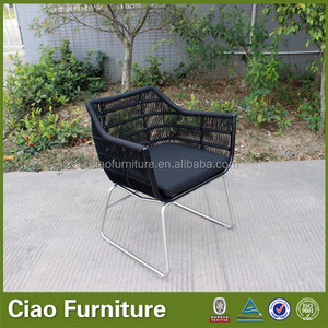 Outdoor PL ribbon metal garden chair with stainless steel base