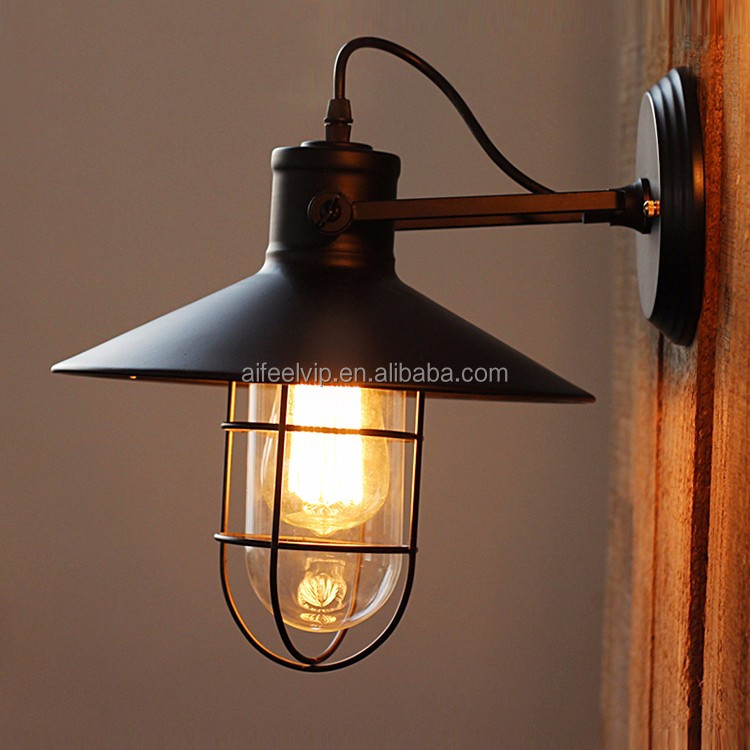 Industrial vintage iron lamp shade classic antique decorative wall lamp for cellar