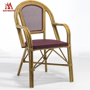 Outdoor Garden Furniture Stackable Bamboo Look Mesh Chair