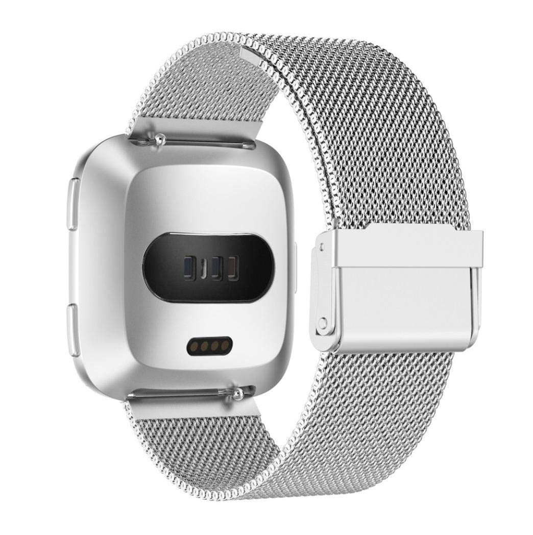 Fenebort Stainless Steel Mesh Loop Replacement Watch Band, Adjustable Quick Release Sport Replacement Watch Strap Fitbit Versa(Dial is not Included)