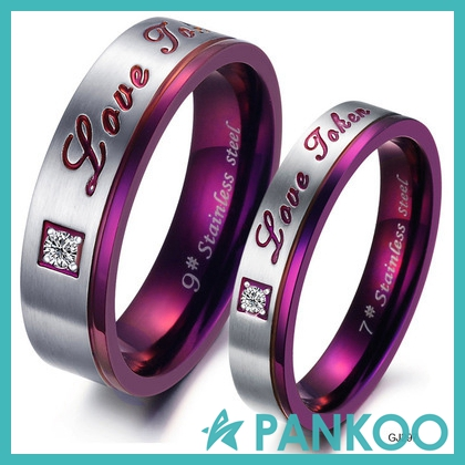 Hot sale directly factory purple lovers ring stainless steel rings for engagement