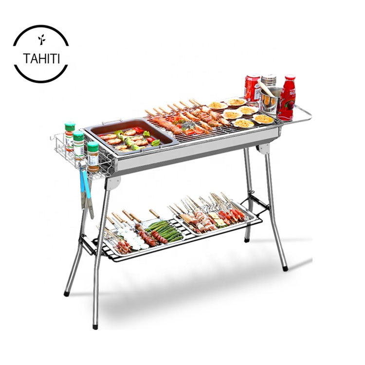 Outdoor Picknicks Koken Vouwen BBQ Tool Kits Draagbare Roestvrij Staal Houtskool Barbecue Grill