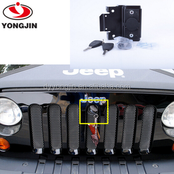 Replacement Parts For Jeep Wrangler Front Engine Compartment Hood Cover  Anti Theft Grille Lock With Keys