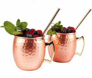 Moscow Mule Copper Mugs 2 packs ,550ml Stainless Steel with Copper-plated - Cocktails Drink cup ,hammered moscow mule mug