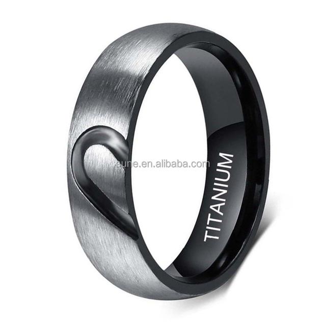 0c95fa38a4de Su verdadero amor corazón promesa anillo de titanio parejas de boda bandas  de compromiso anillo superior