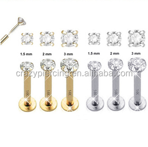 Magnetic 14K Solid Gold Labret Unique Studs With Glitter Gem Designs
