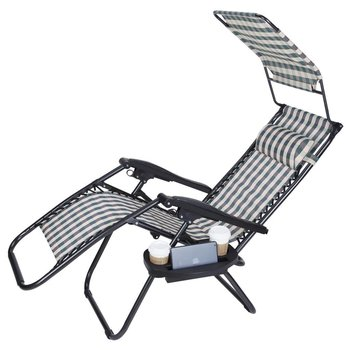 Zero Gravity Outdoor Folding Lounge Chairs W Sunshade Canopy Snack