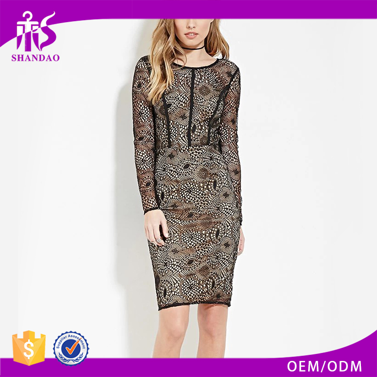 Custom Wholesale Shandao Bulk Fashion Women Summer Black Lace O Neck Long Sleeve Back Frog Close Split Hem Sexy Boutique Dresses