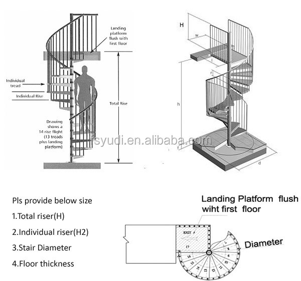 E Saving Stainless Steel Cable Railing Small Spiral Staircase