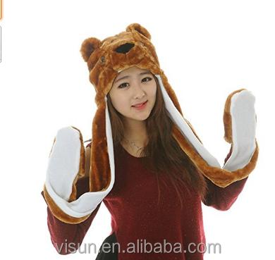 97e2d1adb2a Fancy Soft Warm Winter Headwear 3-in-1 Plush Animal Panda Thick Hat With