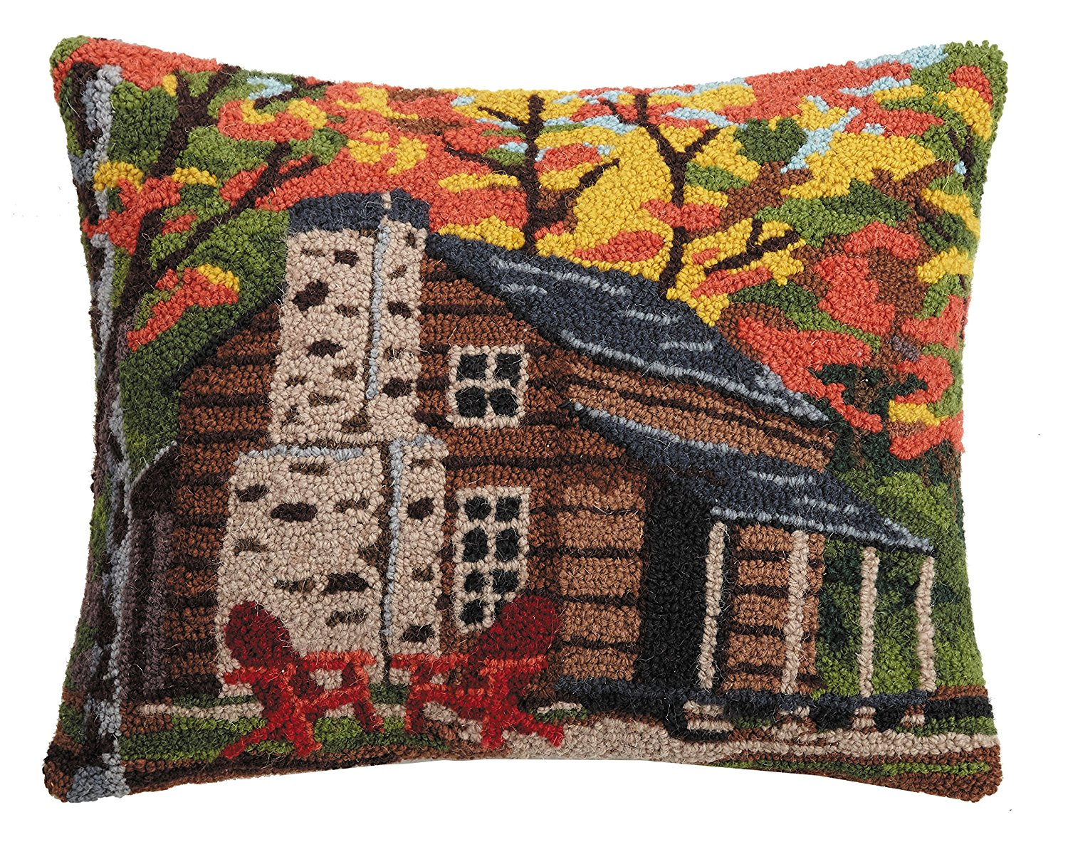 "Peking Handicraft Cabin in the Woods Hook Pillow, 16x20"" Throw"