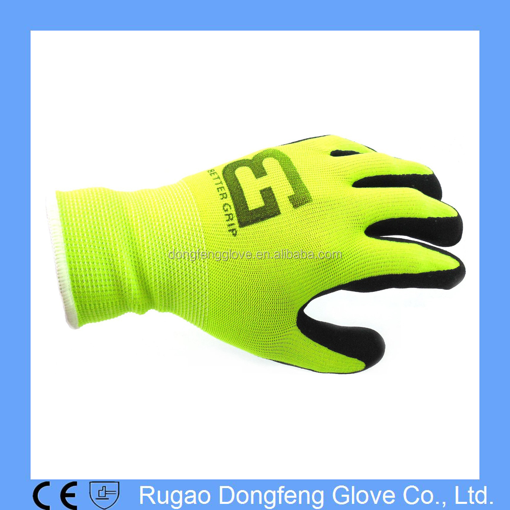 Nylon Gloves Sandy Nitrile Coated Work Gloves