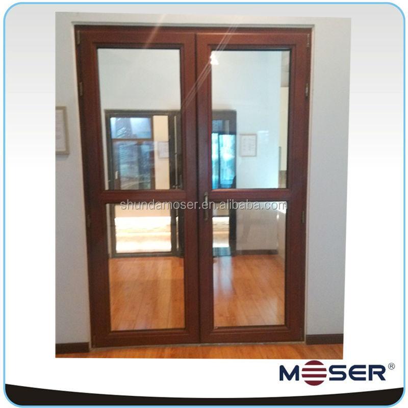 vendas quentes exterior porta de madeira com vidro duplo da porta francesa mosquito tela