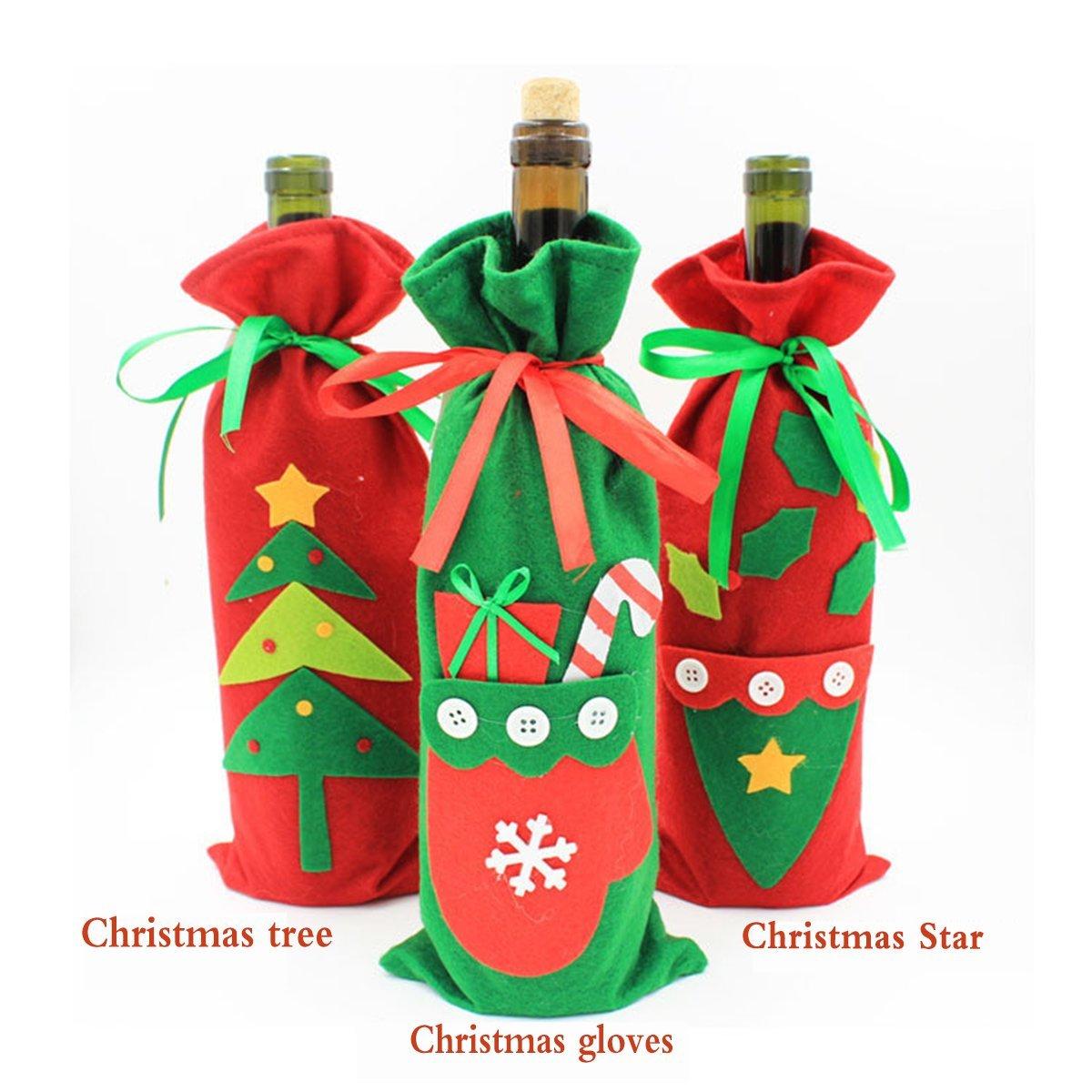 ISNOWKING 3Pcs Santa Claus Wine Bottle Cover Red Wine Bags Christmas Wine Bottle Gift Bags Set (Style2(3pcs))