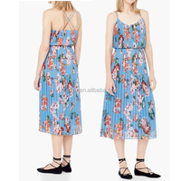 Thin Straps Round Neck Inner Lining Pleated floral Dress For Girl CR1655