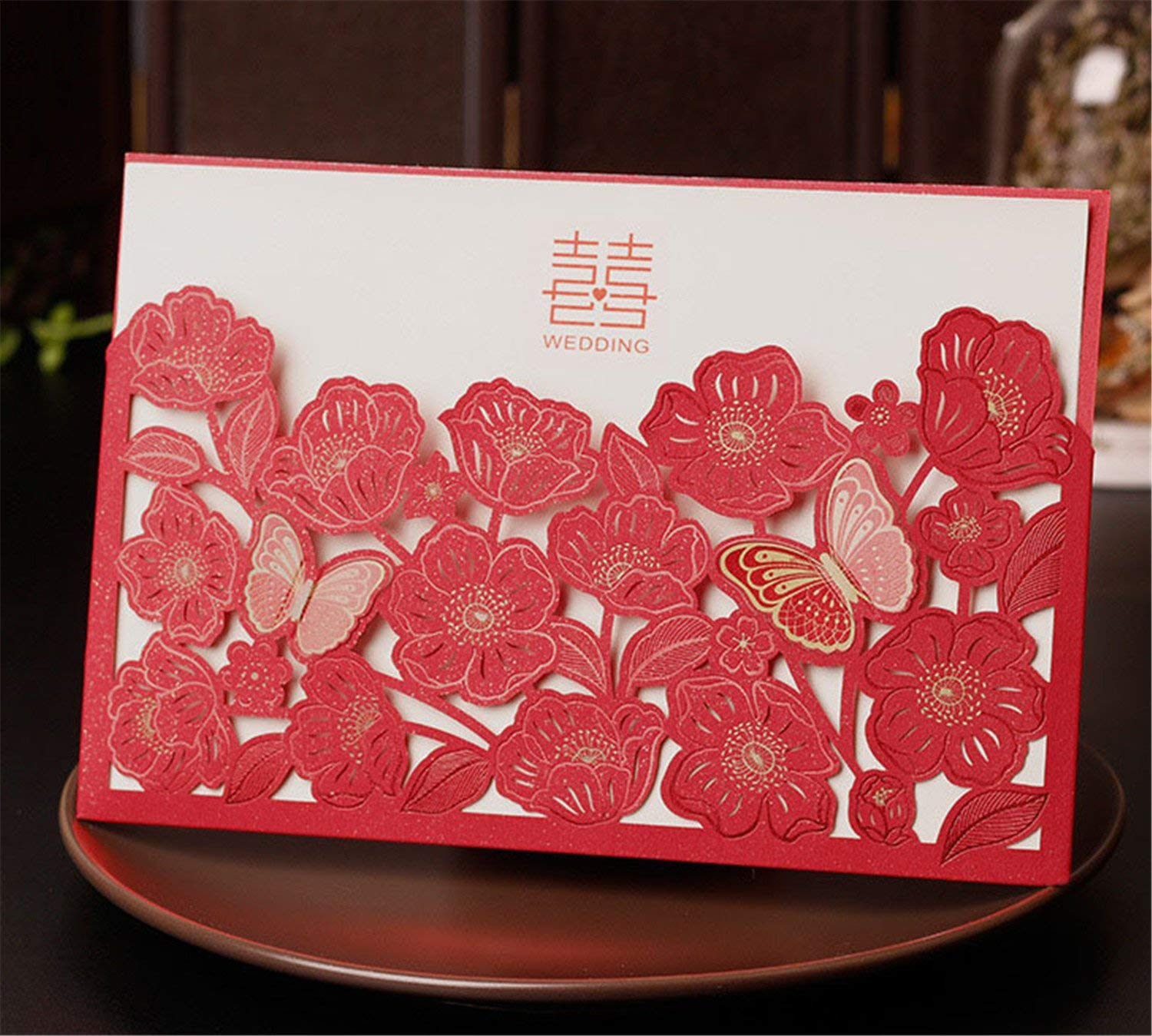 Skyseen 25Pcs Chinese Red Double Happiness Laser Cut Hollow Out Floral Design Wedding Invitation Card