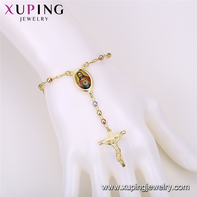 75940 Xuping muslim religious jewellery bracelet cross gold plated fashion jewellery made in china