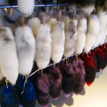 Fashion Lovely Design Wholesale Natural Fox Tail / Fairy Real Fox Fur Tail Keychain