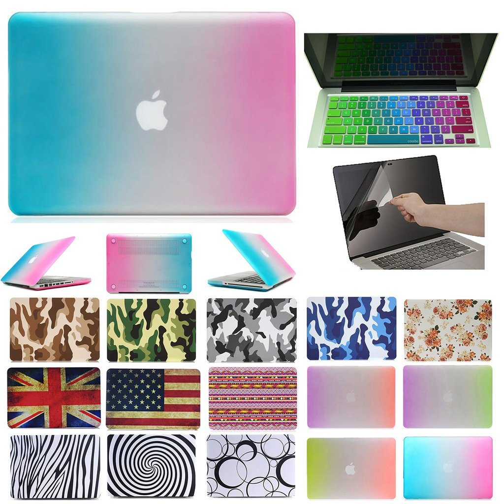 """Coosbo - 3in1 Unique Matched Pair Matte Patterns Hard Case Cover for 11"""" 11.6"""" Apple Mac Macbook Air + Keyboard skin + screen protector film (11"""" Air (Model:A1370,A1465), Rainbow-Blue Pink)"""