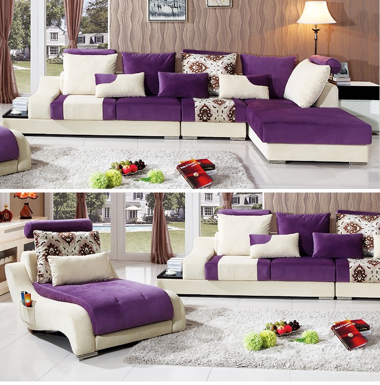 Purple furniture sectional sofa with chaise fabric for Purple sectional sofa chaise