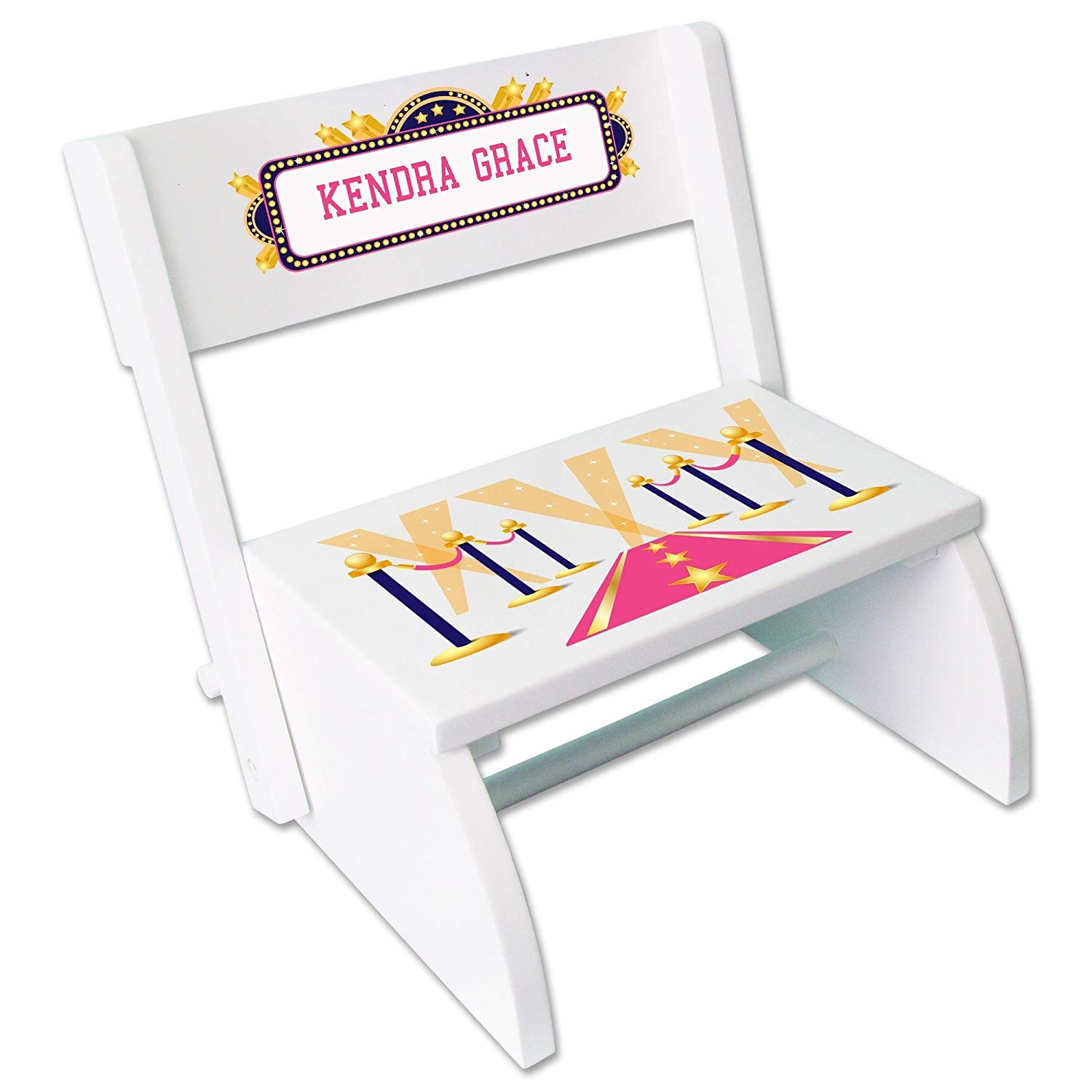 Personalized A Star is Born Pink White Wooden Folding Stool and Seat