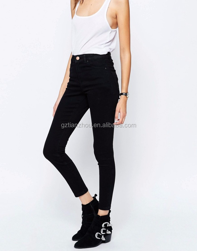 Hot Selling High Quality Clean Black High Rise Skinny Jeans High Stretch Denim Trousers Skinny Cotton Jeans