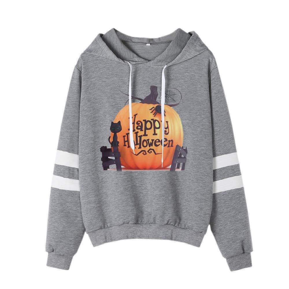 Women 2018 Happy Halloween Hoodie Sweatshirt Cuekondy Striped Long Sleeve Pumpkin Printed Hooded Pullover Blouse