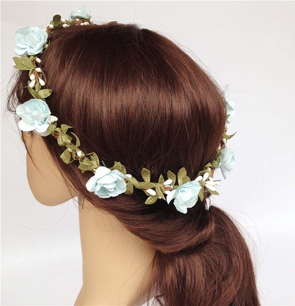 Buy Elegant Boho Paper Rose Flower Rattan Headband Floral Head