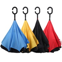 Double Layer Inverted Umbrella Big Straight Reverse Parasol Windproof UV Protection Umbrella for Car Rain Outdoor Hands Free
