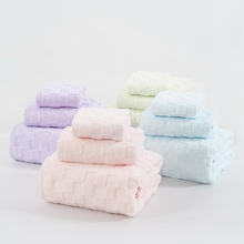 100% Cotton Solid Candy Color Classic Fashion Home Textile Soft Bathroom Bath And Face Towel Set