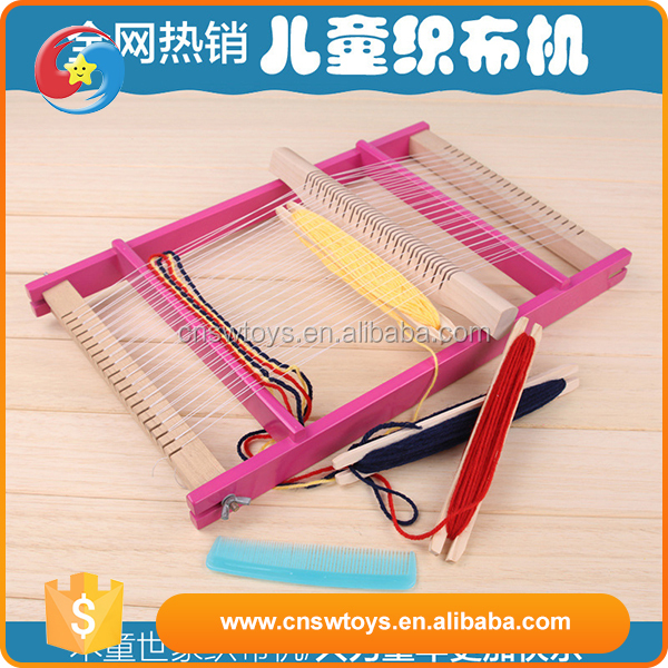 2016 newest educational DIY small wooden weaving loom toys for girl