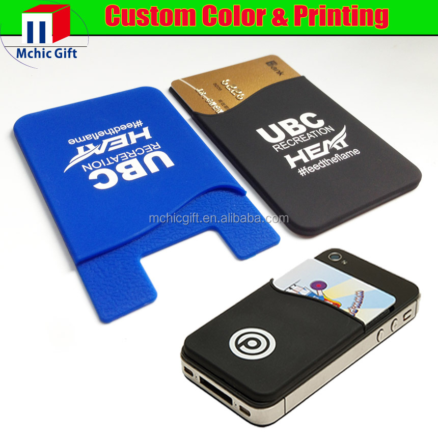 custom adhesive silicone card holder 3m 300lse sticker pouch for - Custom Adhesive Cell Phone Card Holder