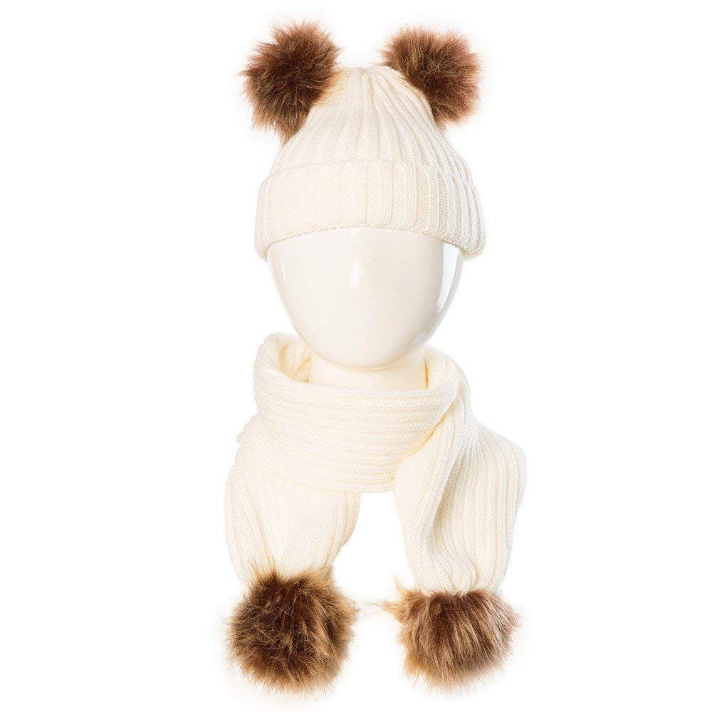 Jshuang Ball Baby Hat Scarf, Baby Cute Winter Kids Baby Hats Keep Warm Set Cute Hat Scarf,Fit for 0-36 Month Old Baby (Beige)