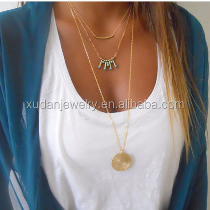 European And American Foreign Trade Handicrafts Simple Turquoise Beads Sequins Necklace Gold Coins Necklace Multilayer Necklace