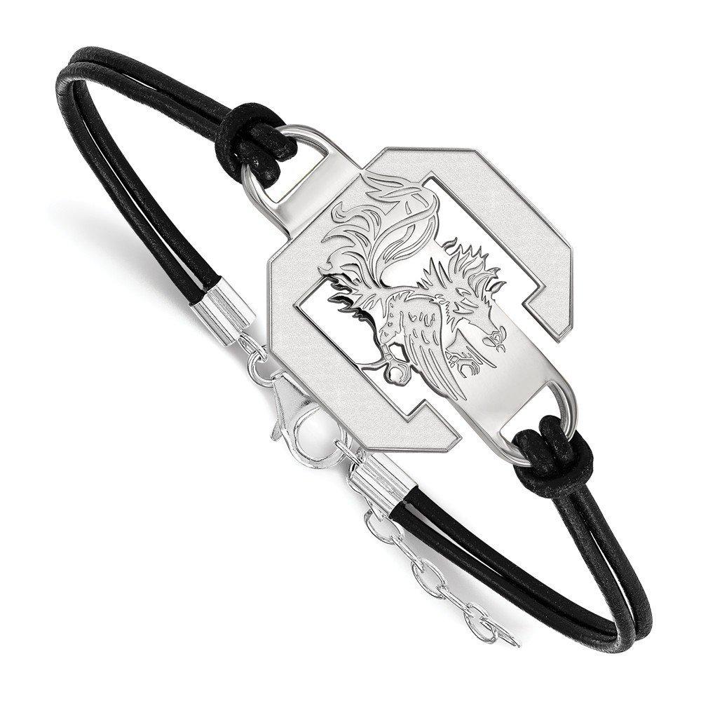 University of South Carolina Gamecocks Sterling Silver Logo Leather Bracelet