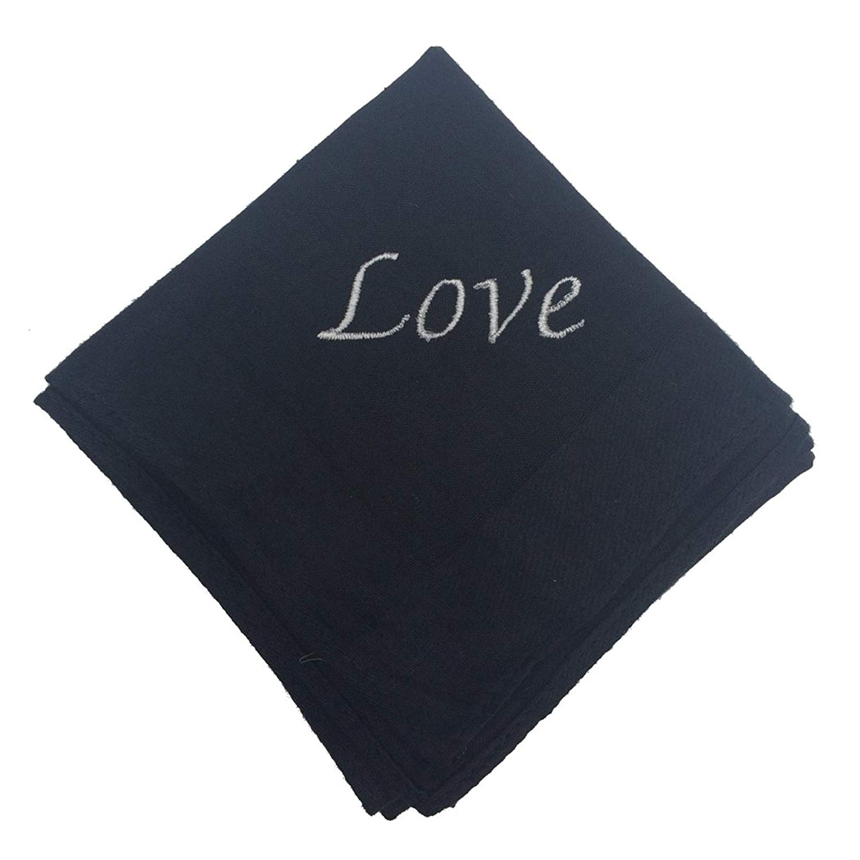 OWM Handkerchief Gift For Him Love Embroidered Monogram Cotton Handkerchief For Men