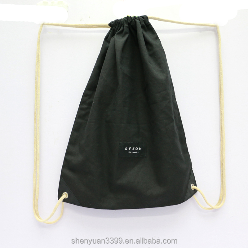 Wholesale custom simple foldable cotton black drawstring backpack bag outdoor portable organza fabric drawstring bag