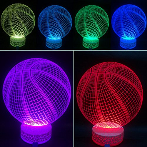 3D Illusion LED Night Lamp Basketball with Built-in battery By AZALCO