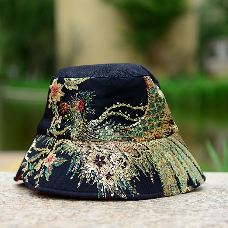Awesome hipster women cool black canvas Chinese ethnic phoenix embroidered wide brim strapback summer sun beach round bowler <strong>hat</strong>