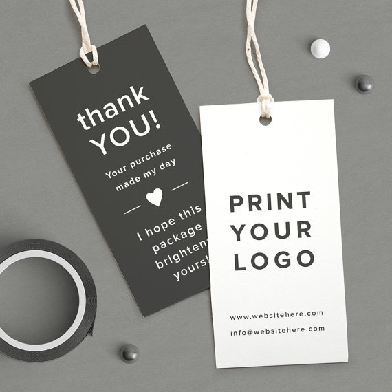 Cute Thank You Hang Tag Brown White Wedding Favor Price Tag Printed Your Logo