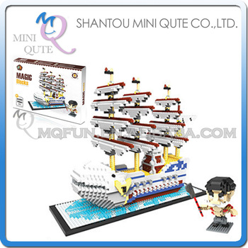 Mini Qute HC Huge Anime one piece Pirate Ship plastic building block cartoon model action figures education educational toy
